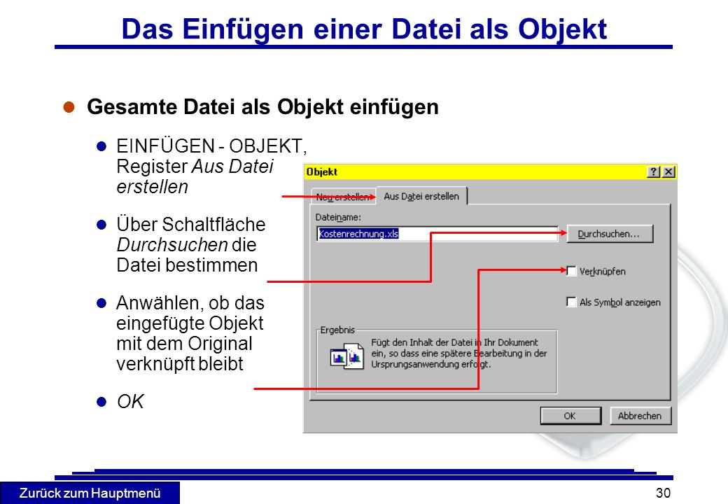 Das Einfügen einer Datei als Objekt