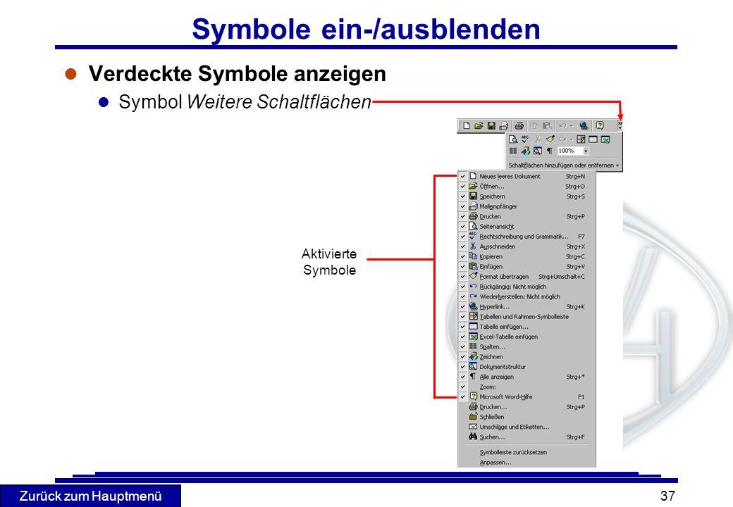 Symbole ein-/ausblenden