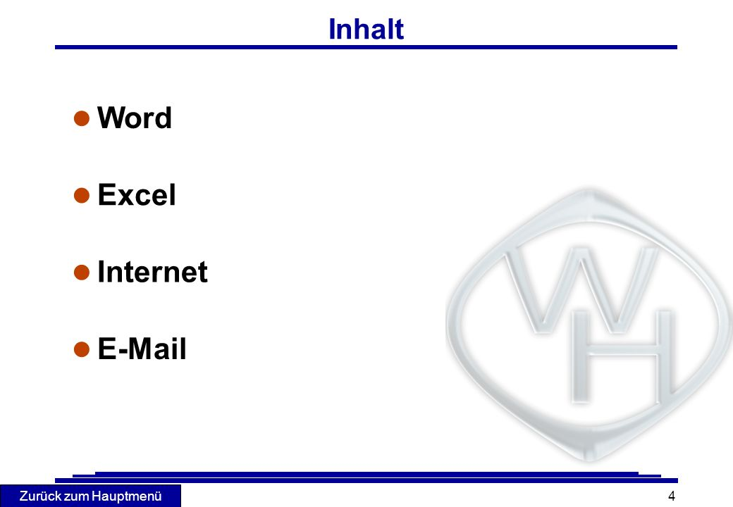 Inhalt Word Excel Internet E-Mail