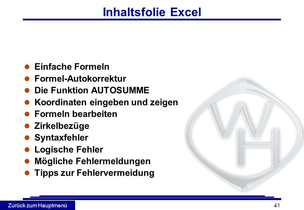 Inhaltsfolie Excel Einfache Formeln Formel-Autokorrektur