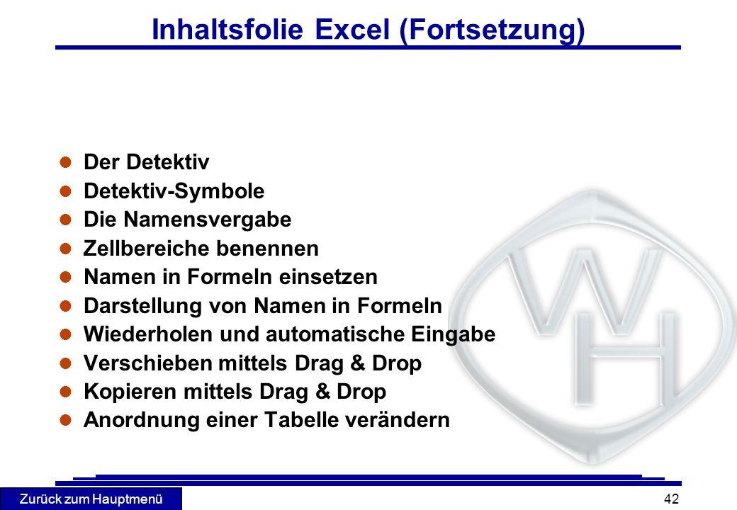 Inhaltsfolie Excel (Fortsetzung)