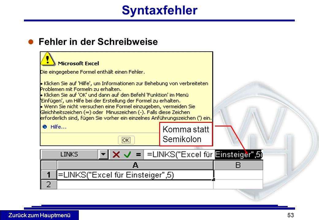 Syntaxfehler Fehler in der Schreibweise Komma statt Semikolon