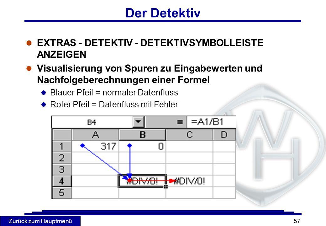 Der Detektiv EXTRAS - DETEKTIV - DETEKTIVSYMBOLLEISTE ANZEIGEN