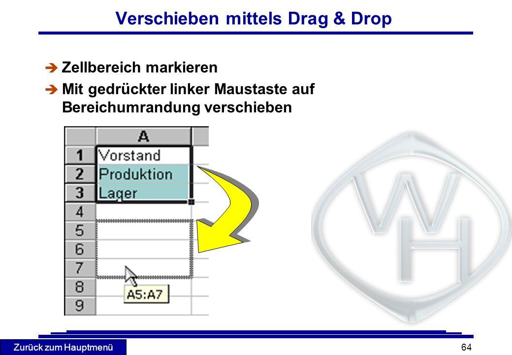 Verschieben mittels Drag & Drop