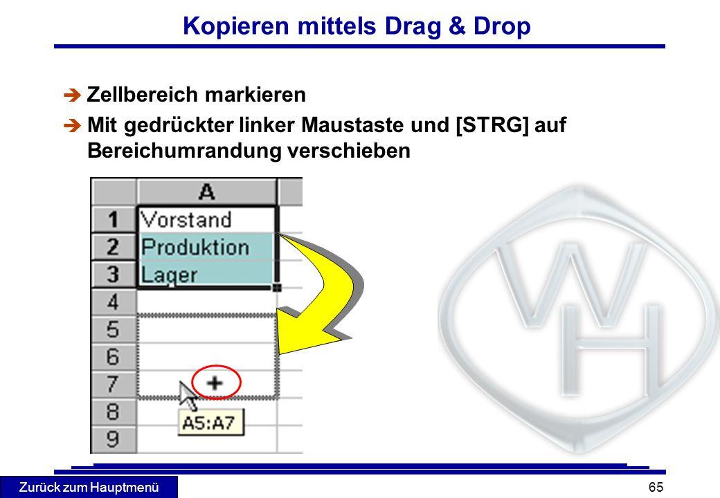 Kopieren mittels Drag & Drop