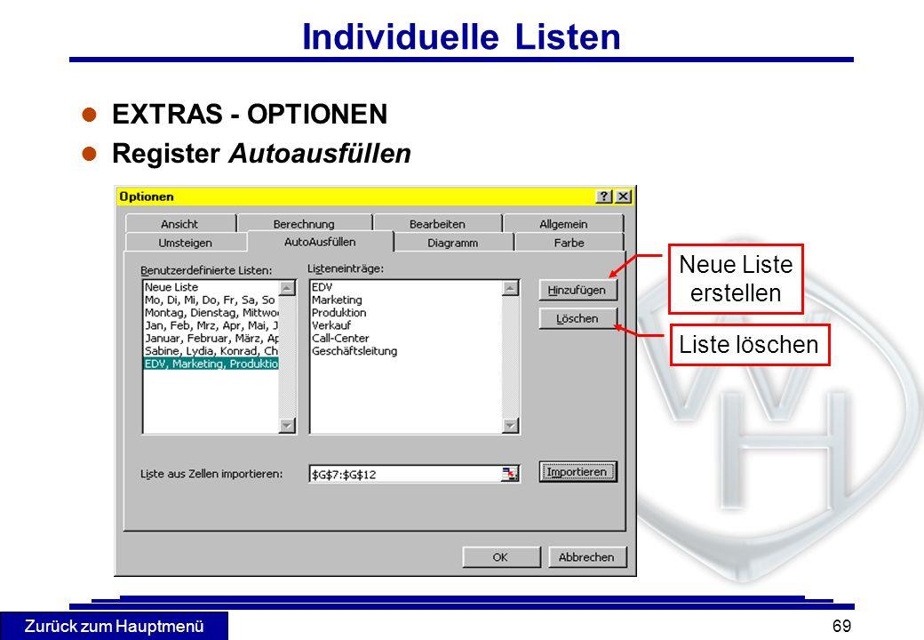 Individuelle Listen EXTRAS - OPTIONEN Register Autoausfüllen