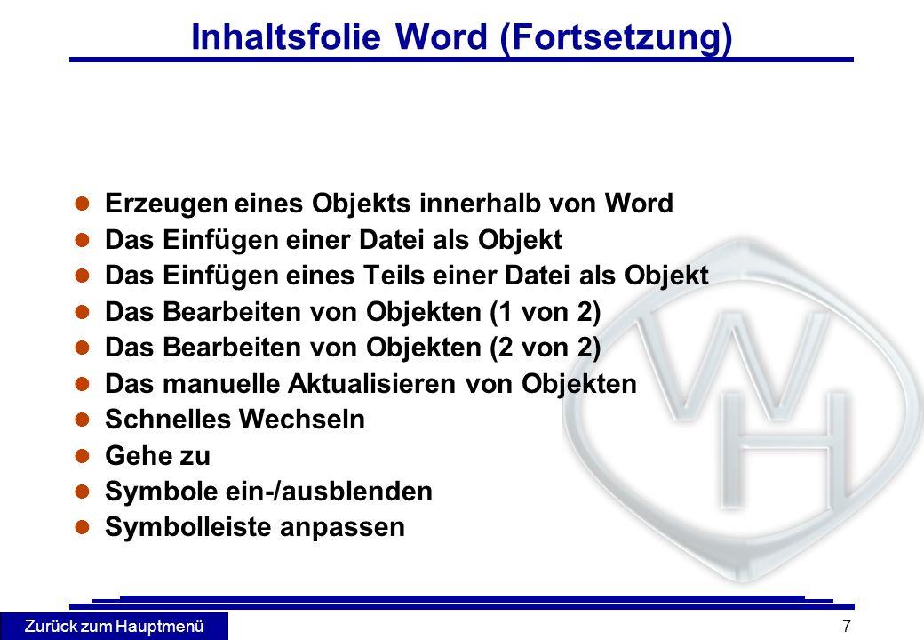 Inhaltsfolie Word (Fortsetzung)