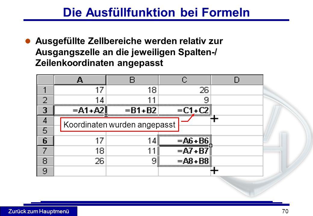 Die Ausfüllfunktion bei Formeln