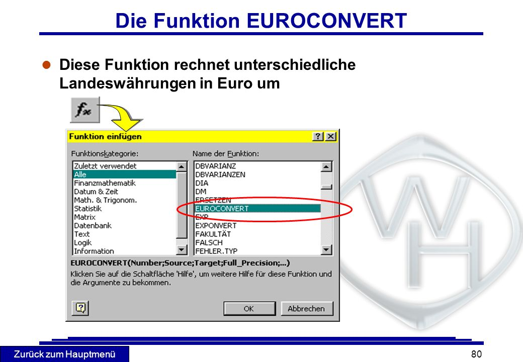 Die Funktion EUROCONVERT