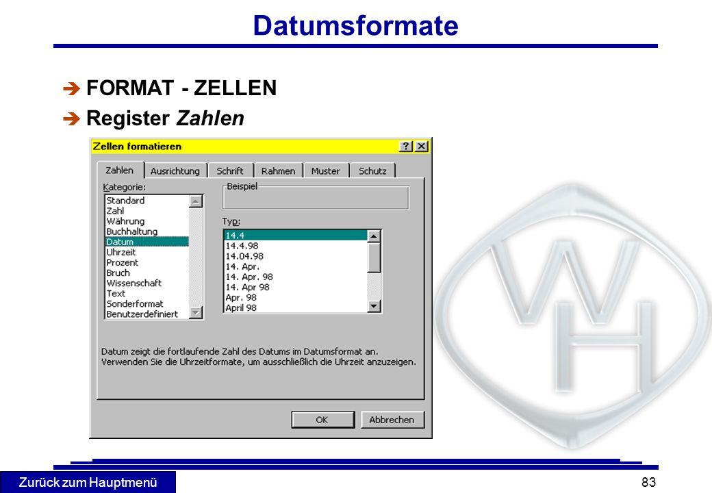 Datumsformate FORMAT - ZELLEN Register Zahlen