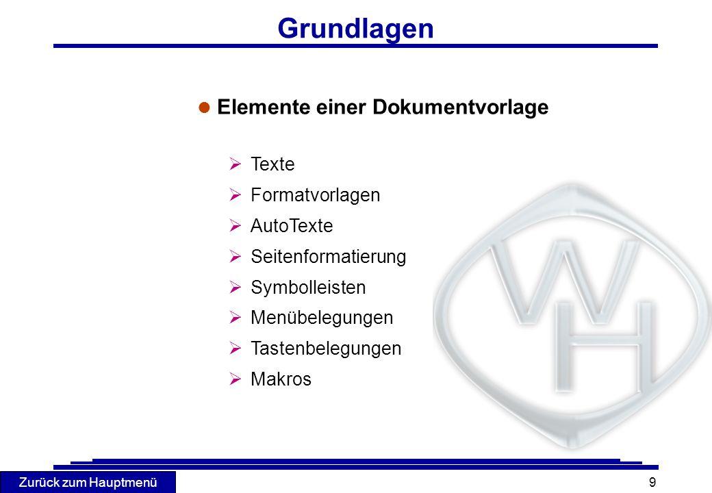 Grundlagen Elemente einer Dokumentvorlage Texte Formatvorlagen