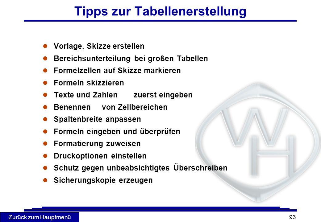 Tipps zur Tabellenerstellung