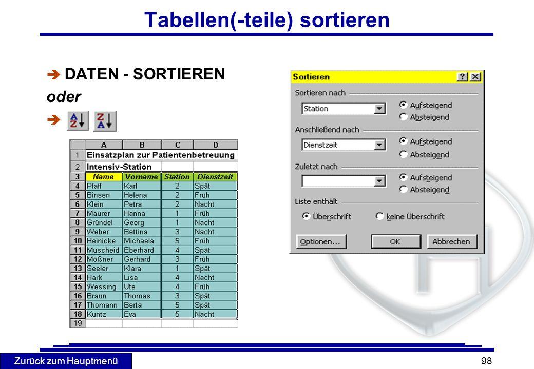 Tabellen(-teile) sortieren