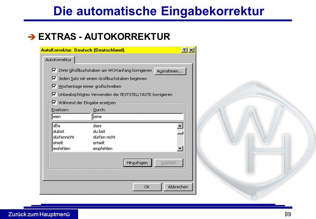 Die automatische Eingabekorrektur
