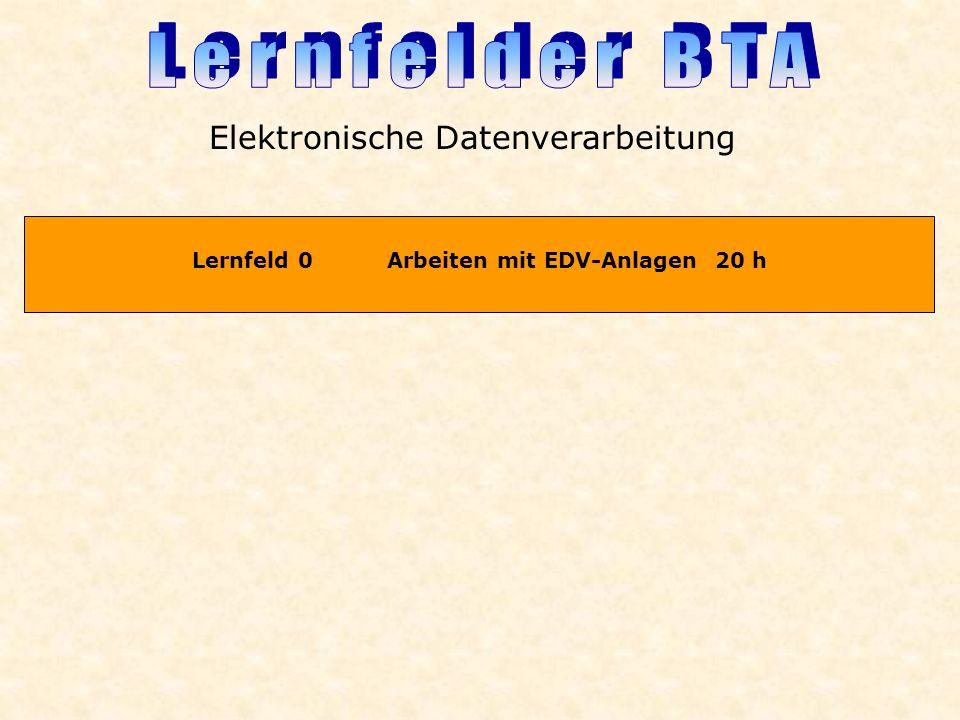 Lernfeld 0 Arbeiten mit EDV-Anlagen 20 h