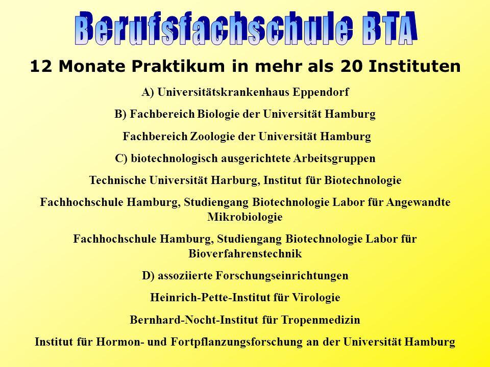 Berufsfachschule BTA 12 Monate Praktikum in mehr als 20 Instituten