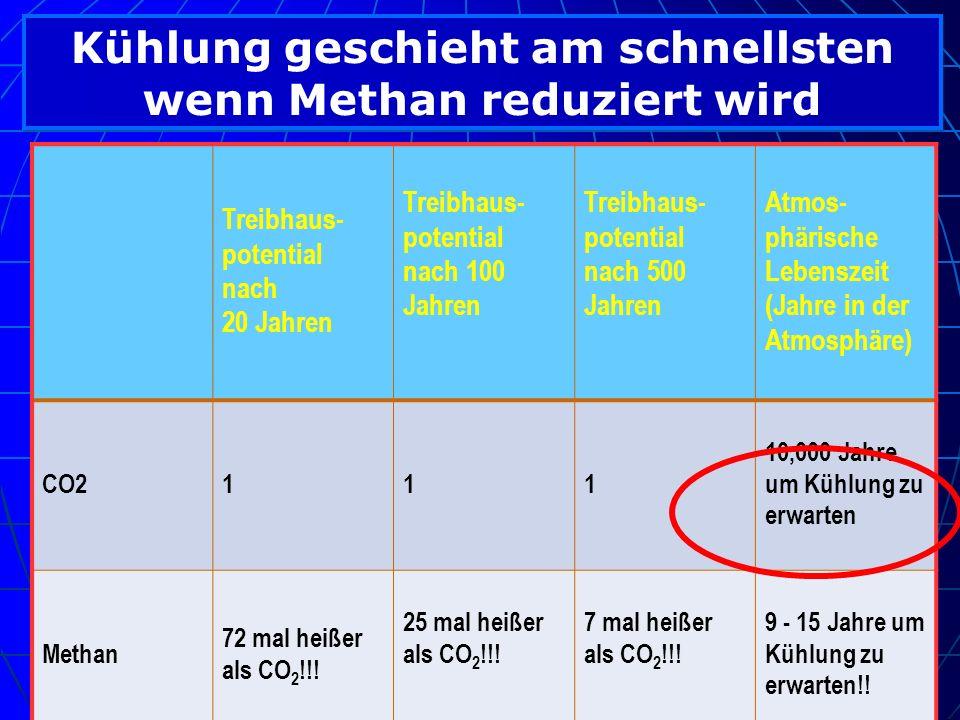 Kühlung geschieht am schnellsten wenn Methan reduziert wird