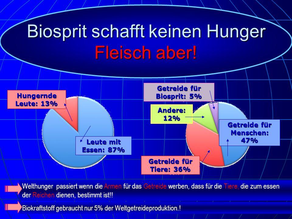 Getreide für Biosprit: 5% Getreide für Menschen: 47%