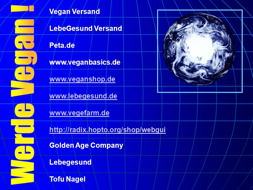 Werde Vegan ! Vegan Versand LebeGesund Versand Peta.de