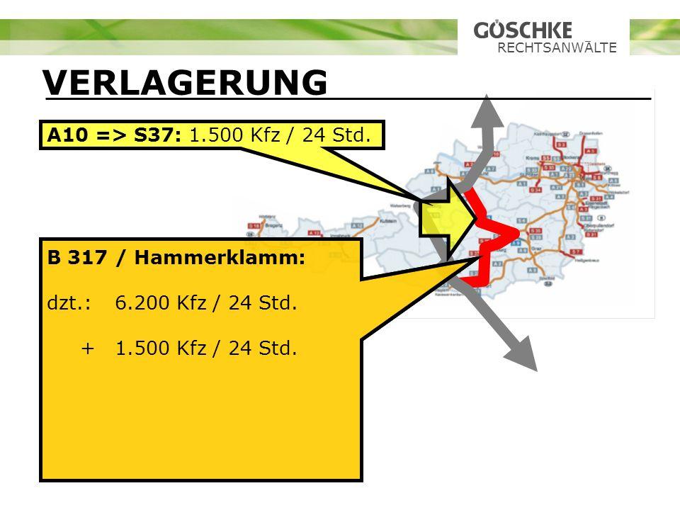 VERLAGERUNG A10 => S37: 1.500 Kfz / 24 Std. B 317 / Hammerklamm: