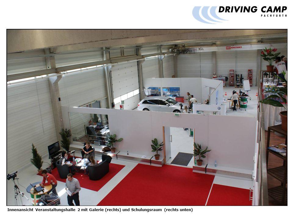 Innenansicht Veranstaltungshalle 2 mit Galerie (rechts) und Schulungsraum (rechts unten)