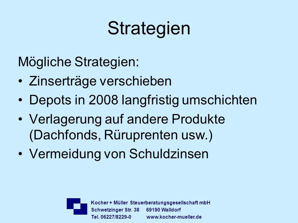 Strategien Mögliche Strategien: Zinserträge verschieben