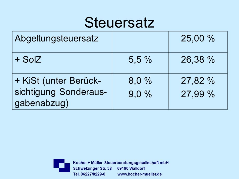 Steuersatz Abgeltungsteuersatz 25,00 % + SolZ 5,5 % 26,38 %
