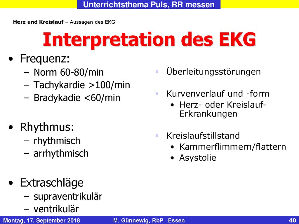 Interpretation des EKG