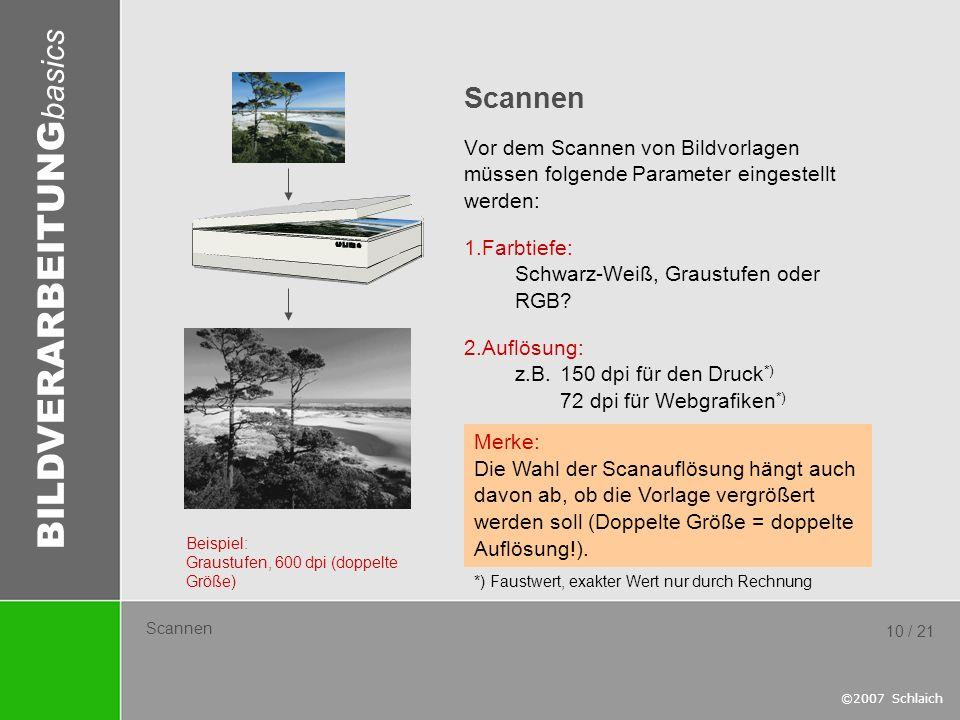 Scannen Vor dem Scannen von Bildvorlagen müssen folgende Parameter eingestellt werden: Farbtiefe: Schwarz-Weiß, Graustufen oder RGB