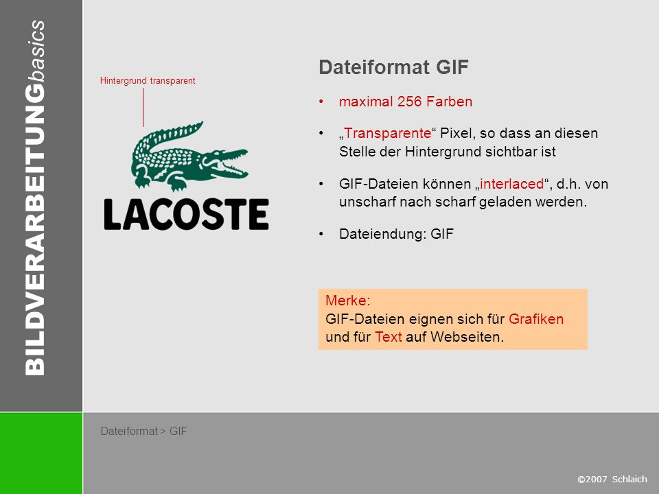 Dateiformat GIF maximal 256 Farben