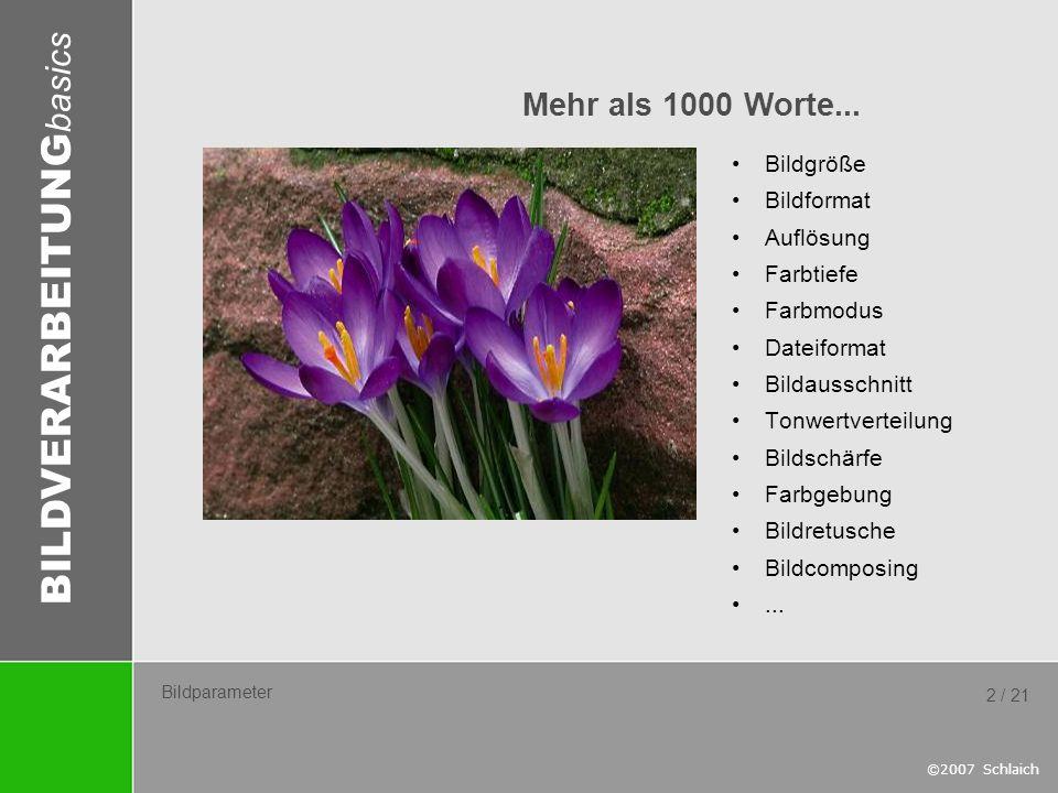 Mehr als 1000 Worte... Bildgröße Bildformat Auflösung Farbtiefe
