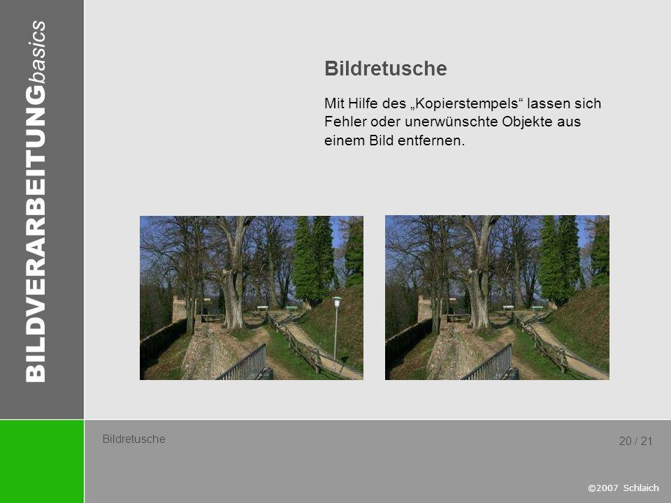 """Bildretusche Mit Hilfe des """"Kopierstempels lassen sich Fehler oder unerwünschte Objekte aus einem Bild entfernen."""