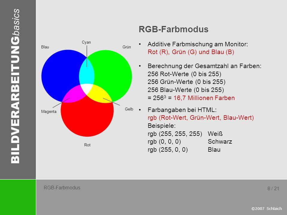 RGB-Farbmodus Additive Farbmischung am Monitor: Rot (R), Grün (G) und Blau (B)
