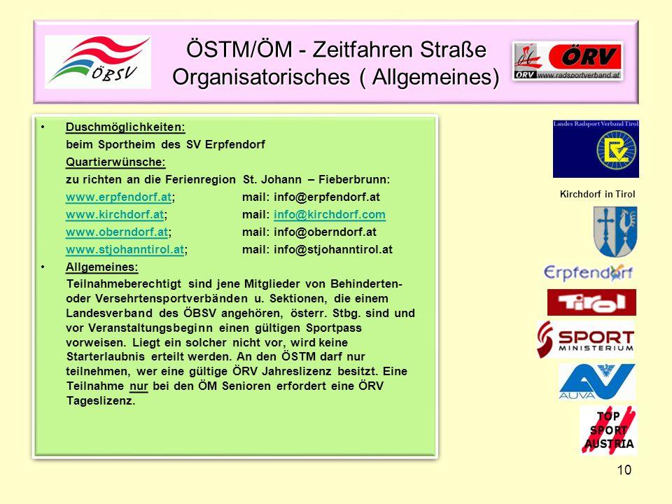 ÖSTM/ÖM - Zeitfahren Straße Organisatorisches ( Allgemeines)