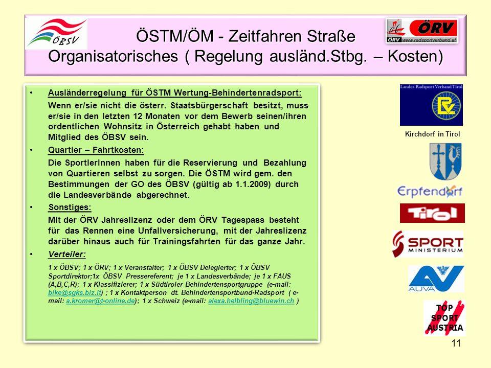 ÖSTM/ÖM - Zeitfahren Straße Organisatorisches ( Regelung ausländ. Stbg