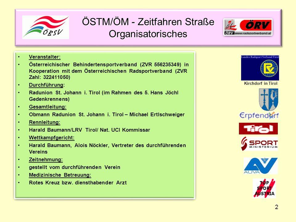 ÖSTM/ÖM - Zeitfahren Straße Organisatorisches