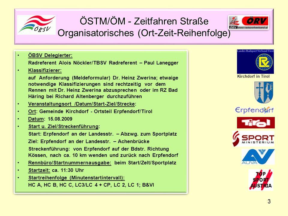 ÖSTM/ÖM - Zeitfahren Straße Organisatorisches (Ort-Zeit-Reihenfolge)