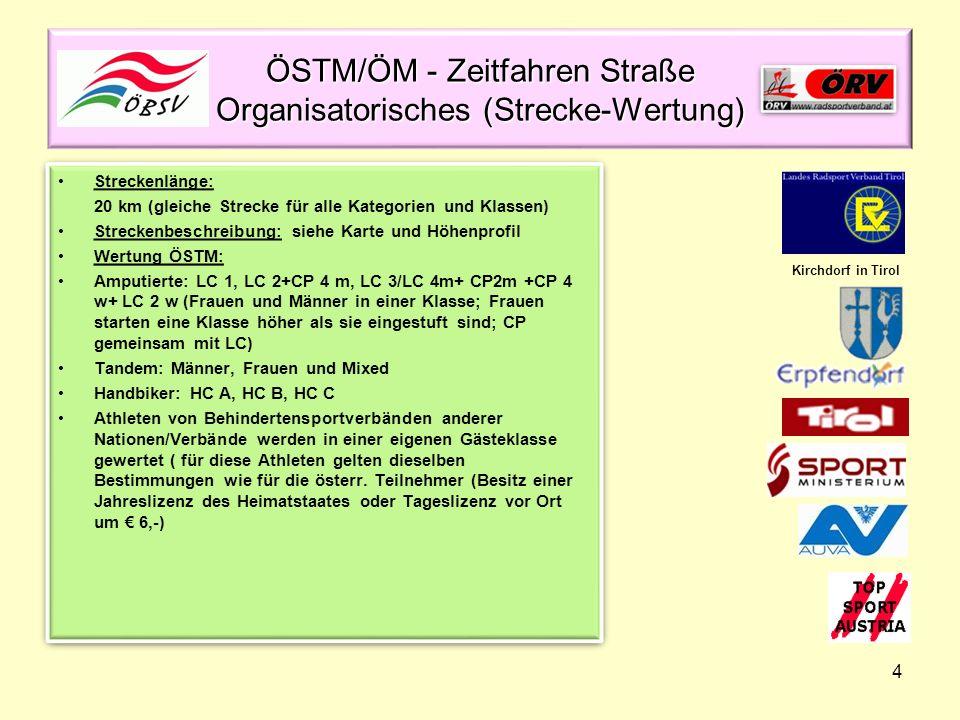 ÖSTM/ÖM - Zeitfahren Straße Organisatorisches (Strecke-Wertung)