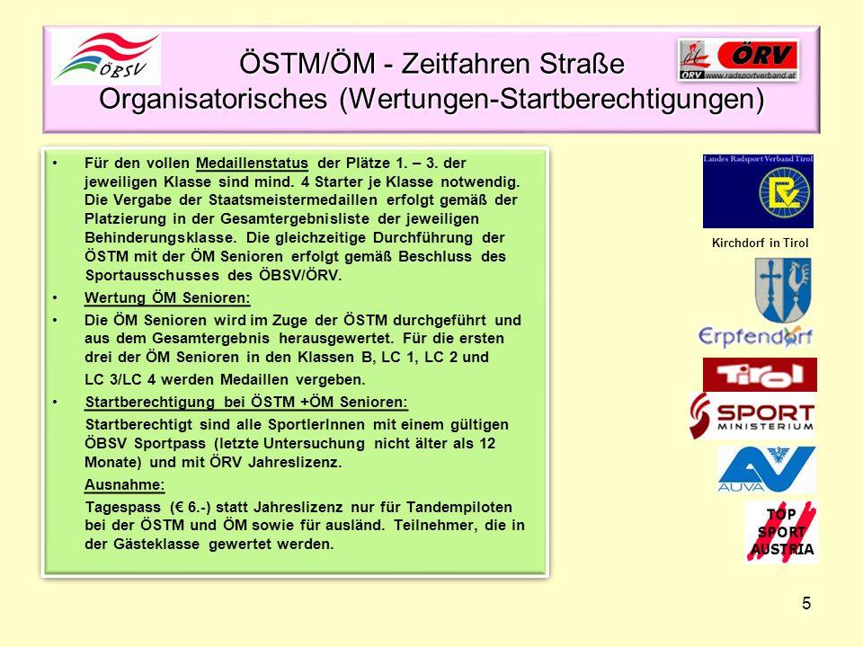 ÖSTM/ÖM - Zeitfahren Straße Organisatorisches (Wertungen-Startberechtigungen)