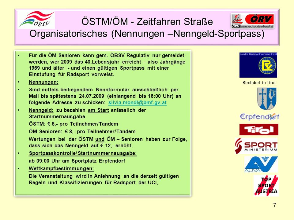 ÖSTM/ÖM - Zeitfahren Straße Organisatorisches (Nennungen –Nenngeld-Sportpass)