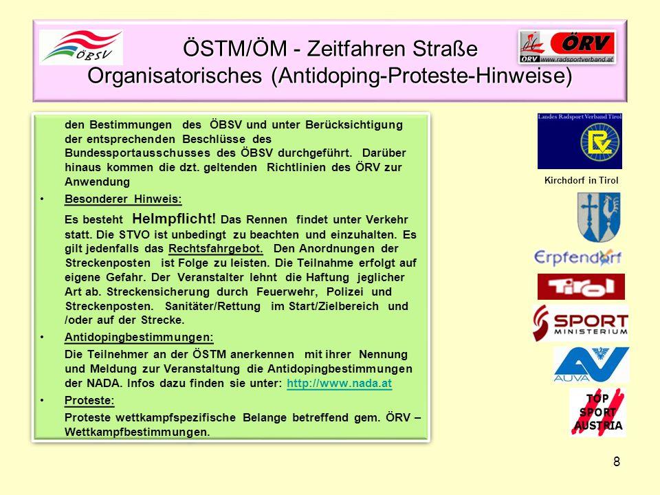 ÖSTM/ÖM - Zeitfahren Straße Organisatorisches (Antidoping-Proteste-Hinweise)