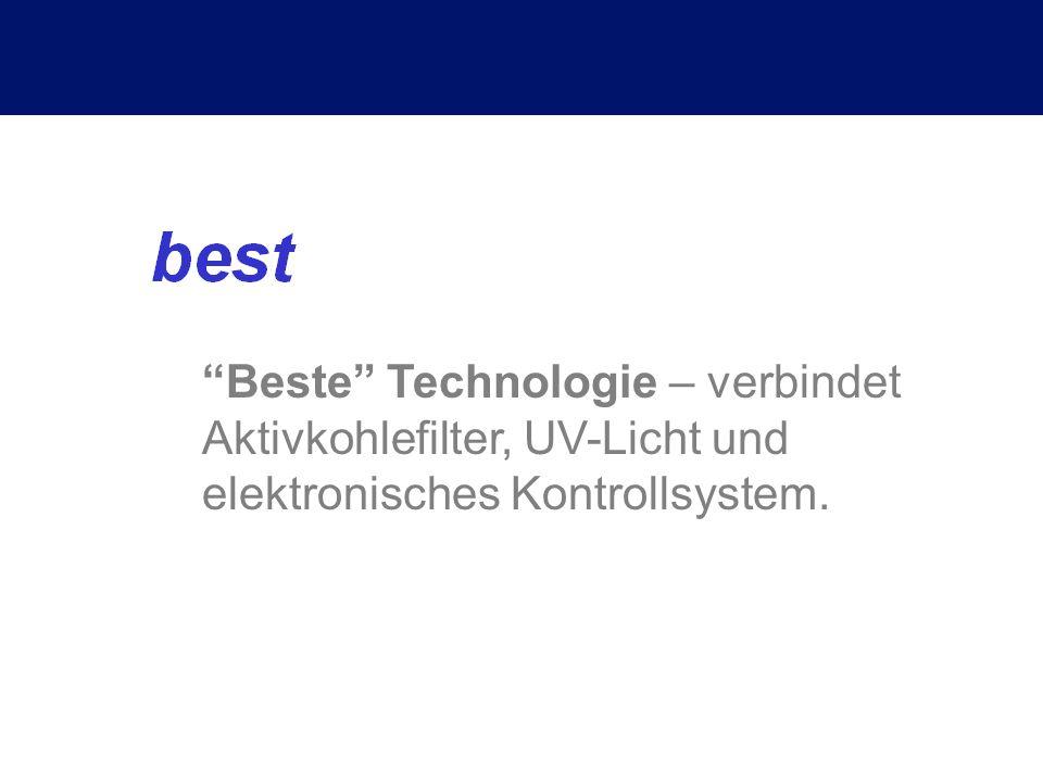 Beste Technologie – verbindet Aktivkohlefilter, UV-Licht und elektronisches Kontrollsystem.