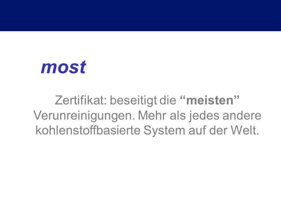 most Zertifikat: beseitigt die meisten Verunreinigungen.