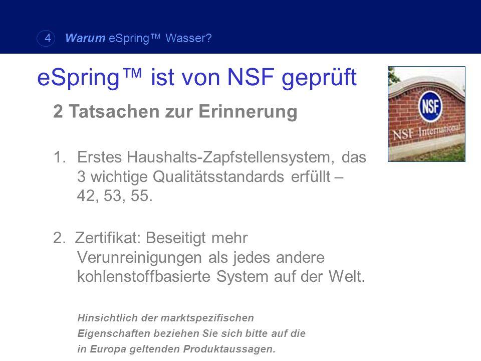 eSpring™ ist von NSF geprüft