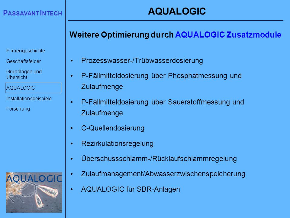 AQUALOGIC Weitere Optimierung durch AQUALOGIC Zusatzmodule