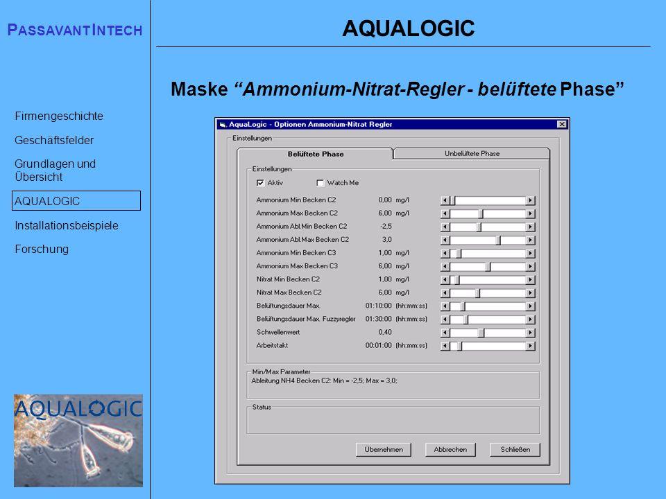 AQUALOGIC Maske Ammonium-Nitrat-Regler - belüftete Phase
