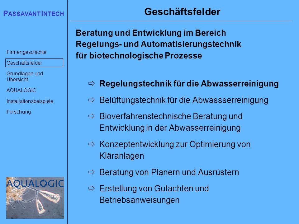Geschäftsfelder Beratung und Entwicklung im Bereich Regelungs- und Automatisierungstechnik für biotechnologische Prozesse.