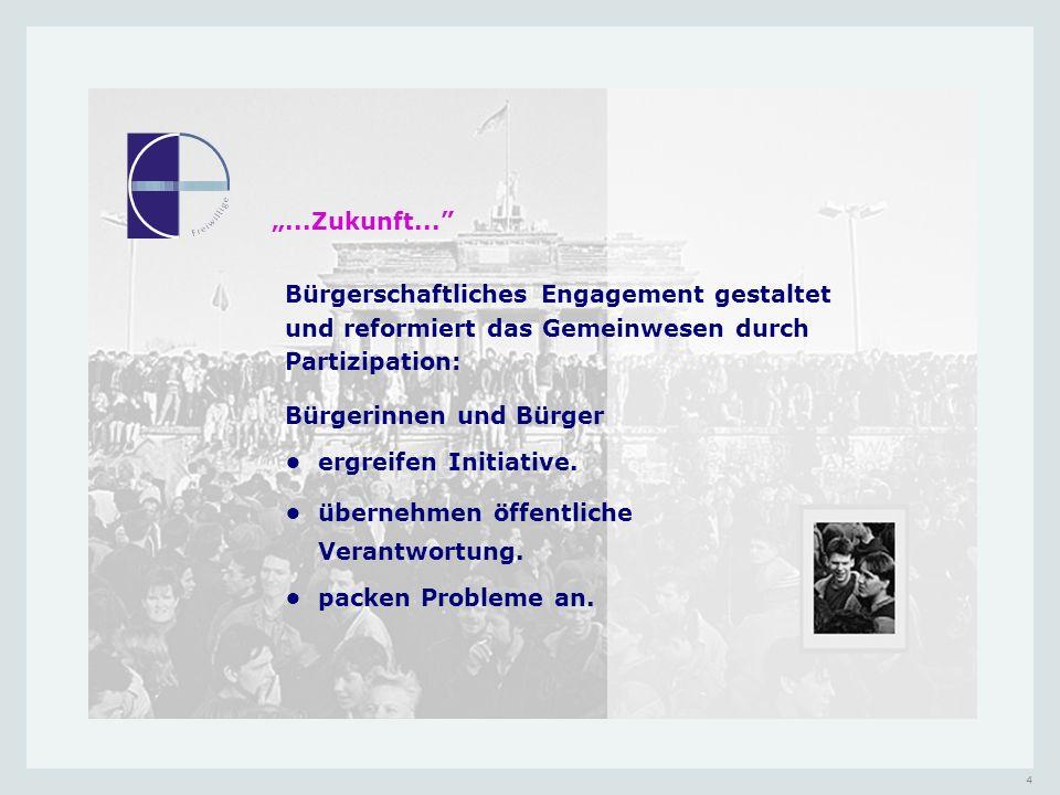 """""""...Zukunft... Bürgerschaftliches Engagement gestaltet und reformiert das Gemeinwesen durch Partizipation:"""