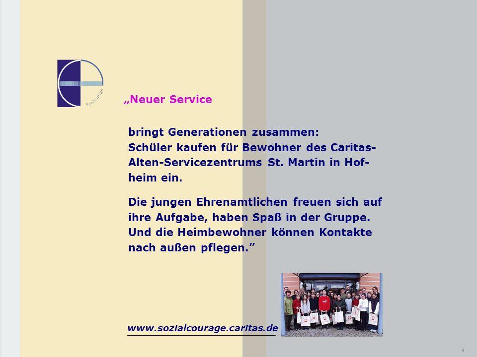 """""""Neuer Service bringt Generationen zusammen: Schüler kaufen für Bewohner des Caritas- Alten-Servicezentrums St. Martin in Hof- heim ein."""