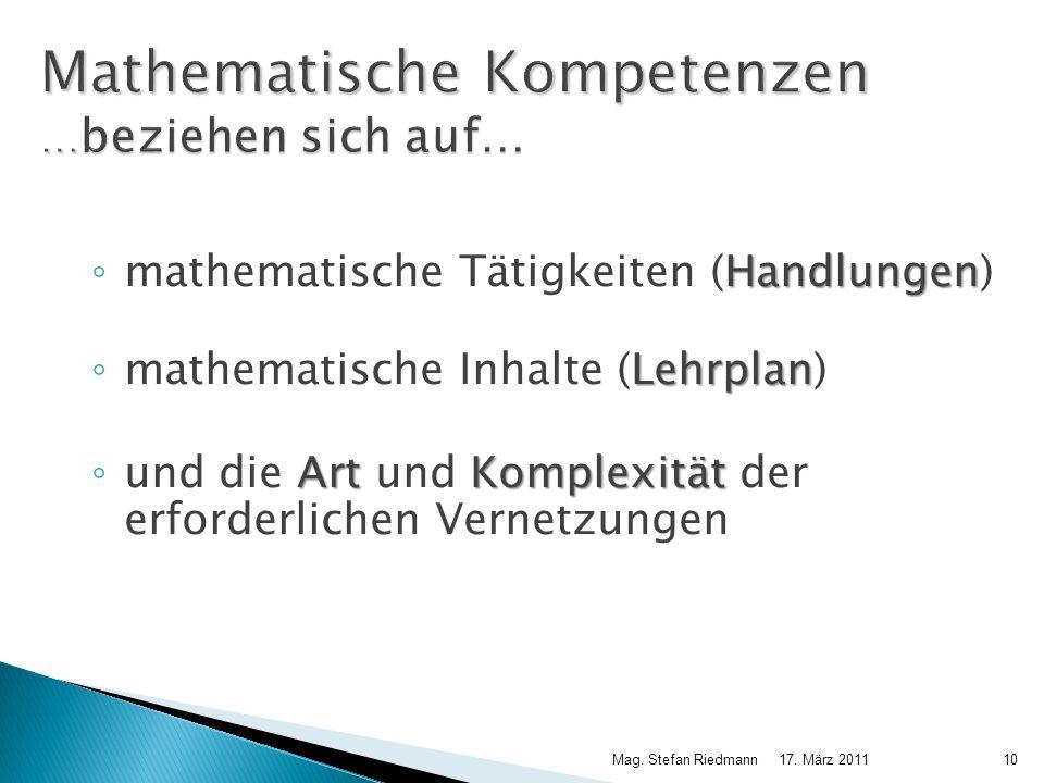 Mathematische Kompetenzen …beziehen sich auf…